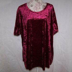 Faded Glory Shirt Top 3X Velvet Stretch Burgundy